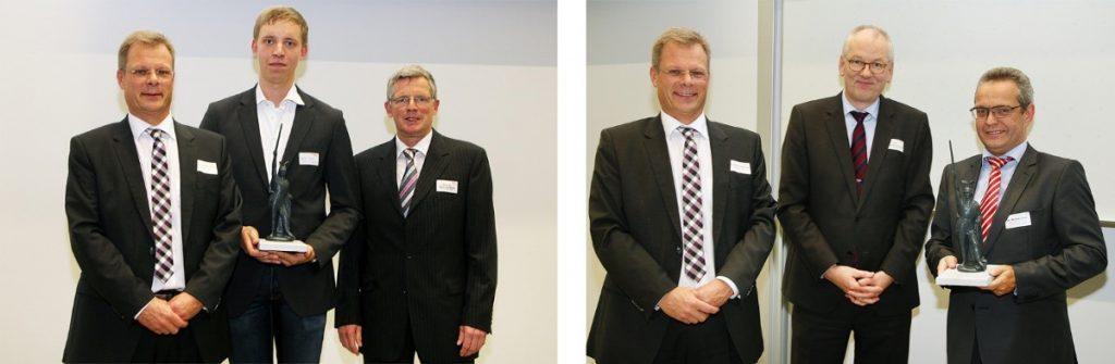 Die Preisträger des Kunststoff Innovationspreises 2016. Links: Stefan Schmedding, Philip Kriener, Prof. Christopf Barth. Rechts: Stefan Schmedding, Prof. Christoph Jaroschek, Dr. Michael Späth.